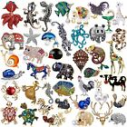 Rhinestone Crystal Animal Frog Turtle Elephant Cat Dog Brooch Pin Women Jewelly image