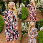 Women 3/4 Sleeve Floral Flower Loose Evening Prom Cocktail Midi Party Dress M2P6
