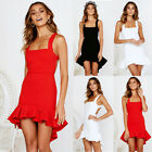 Women's Casual Sexy Spaghetti Strap Backless Short Mini Bodycon Falbala Dresses
