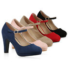 8804cc2944f256 895410 Damen Pumps Mary Janes Blockabsatz High Heels T-Strap Hot