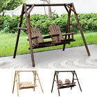 Freestanding Wood Adirondack Swing Rustic Farmhouse Style 2 Person