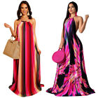 Women Backless Halter Sleeveless Stripe Casual Party Print Stripes Long Dress