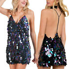 US Sexy Women Sequin Plunging V Neck Bodycon Halter Clubwear Party Mini Dress