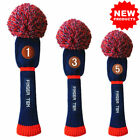 Golf Pom Pom Headcover 3 Pack Driver Fairway Hybrid Golf Club Head Covers Gift