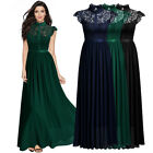 Women's Formal Floral Lace Elegant Half High Collar Evening Party Maxi Dress
