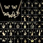 Stainless Steel Women Gold Jewelry Set Fashion Pendant Party Earrings Necklace image