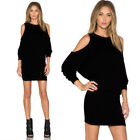 Fashion Sexy Womens Solid Long Sleeve Off Should Evening Party Mini Club Dress