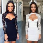 Brand New Women's Stretch Sexy Long Lace Sleeve Mini Sweetheart Bodycon Dresses