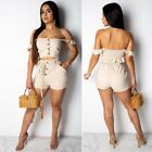 Women Sexy Off Shoulder Bodycon Solid Color Casual Party Short Jumpsuit Romper