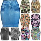Womens Basic Seamless Fitted Printed Floral Denim Mini Skirt