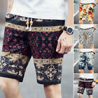 Men's Cotton Linen Loose Summer Beach Boho Drawstring Comfy Shorts Casual Pants