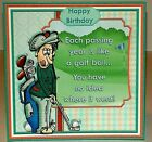 Handmade Greeting Card 3D Birthday Humorous With A Man Golfing
