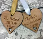 Personalised Wedding Party Wooden Heart Engraved Coat Hanger Tag Bridal Keepsake