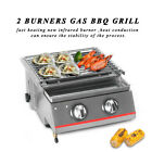 Gas BBQ Grill 2 Burners commercial Glass Stainless Shield Picnic Camping Outdoor