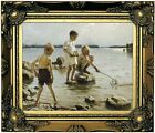 Edelfelt Boys Playing on the Shore 1894 Wood Framed Canvas Print Repro 8x10