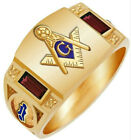 Fashion Personality Masonic 18K Rose Gold Plated AG Logo Man Copper Ring Sz 8-15