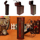 Wooden Wine Bottle Box with Antique Finish Hand-carved Daffodil Pattern