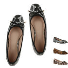 Damen Klassische Ballerinas Animal Print Slipper Freizeit Slip On 897589 Hot