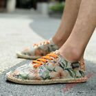Mens Round Toe Lace Up Printed Loafers Breathable Canvas Shoes moccasin Oxfords