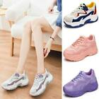 Women Breathable Mesh Trainer Platform Comfort Dad Sneakers Runner Lace Up Shoes