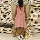 CA Women's Sleeveless Solid Casual V Neck Dress Loose Plus Size Lace Dress S-5XL