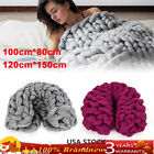 Hand Chunky Knitted Blanket Thick Yarn Wool Bulky Knitt Throw Soft&Warm Big SALE image