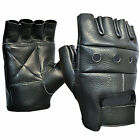 Mens Leather Fingerless Gloves Motorcycle Biker Driving Gym Weightlifting