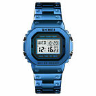 Fashion Alarm Digital Mens SKMEI Sports Waterproof Stainless Steel Wrist Watch