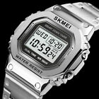 Fashion Alarm Digital Mens SKMEI Sports Waterproof Stainless Steel Wrist Watch image