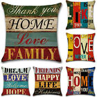 18'' Square Retro Letter Cotton Linen Home Throw Pillow Case Sofa Cushion Cover image