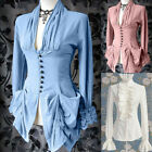 Victorian Women Steampunk Long Sleeve Solid Color Vintage Tops Shirt Costume