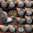 Men's Steampunk Skeleton Retro Pocket Watch Antique Open Face Mechanical MZT image