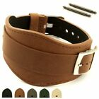 Men's Genuine Leather One-piece Cuff Pad Watch Strap Band 18 20 22 Moscow MM