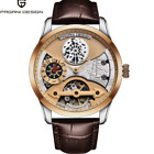 Men's Automatic Skeleton Month Indicator Stainless steel Mechanical Wrist Watch