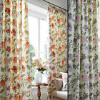 Felicity Floral Print Pencil Pleat Tape Top Curtains On 100% Cotton Face Fabric