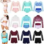 Girl Kid Sports Dance Costumes Lace Long Sleeve Crop Top+Shorts Dancewear Outfit