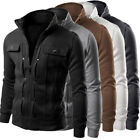 Mens Slim Fit Stand Collar Coat Top Military Jacket Winter Outwear Blazer Hot US