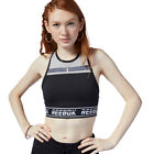 Reebok Womens WOR Meet You There Bralette - Black Grey Sports Gym Breathable