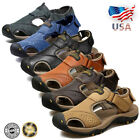 Men's Genuine Leather Sports Closed Toe Sandals Casual Fisherman Water Shoes USA