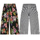 New Womens Printed 3/4 Elasticated Stretch Palazzo Wide Leg Shorts Culottes