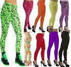 PLAIN NEON TUTU LEGGINGS 80'S FANCY DRESS GOTH PARTY LADIES WET LOOK GRAFFITTI
