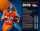 Denver Broncos Football Schedule 2019 man in Poster on eBay