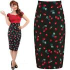 COLLECTIF FIONA 50'S CHERRY / FLORAL WIGGLE PENCIL SKIRT VINTAGE  ALTERNATIVE