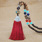 Vintage Ethnic Style Tassel Wooden Necklace Fashion Long Sweater Chain Bohemia
