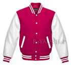 Varsity Letterman Baseball Wool and Genuine Leather Sleeves College Jacket