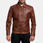 Mens Inferno Brown Leather Jacket Genuine Lambskin Slimfit Motorcycle Jacket-007 $134.99 USD on eBay