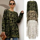 New Womens Casual Oversized Leopard Sweater Knitted Soft Jumper Breathable Tops