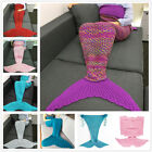 US Mermaid Tail Crocheted Sleeping Bag Sofa Blanket Carpet Knit Warm Adult Child image