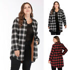 Women's Leisure Oversize Loose Long Sleeve Plaid Pattern Long Blouse Shirt Comfy