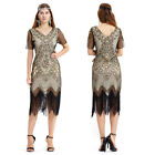 Women's 1920s Gatsby Inspired Sequin Beads Long Fringe Flapper Tassels Hem Dress
